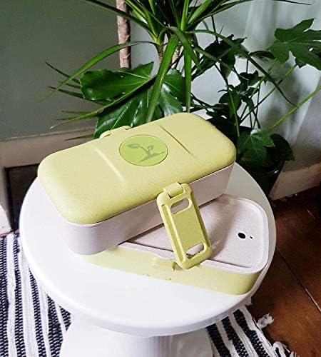 Lunch Box Recipiente Bento de 2 niveles Recipientes de alimentos de fabricaci/ón org/ánica apilables con cubiertos ECO: sin BPA apto para microondas y lavavajillas a prueba de fugas Turquesa