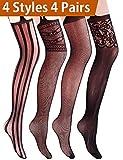 VERO MONTE 4 Pairs Suspender Tights 4 Women Thigh Highs Stockings Fishnet(BLACK)