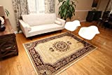 Feraghan/New City Traditional French Floral Wool Persian Area Rug, 2' x 3', Cream