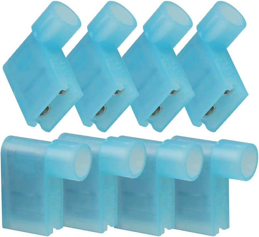 Lala Smill 20pcs Flag Crimp Terminals Right Angle Female Disconnect Nylon Fully Insulated Connector 12-10 Wire Range