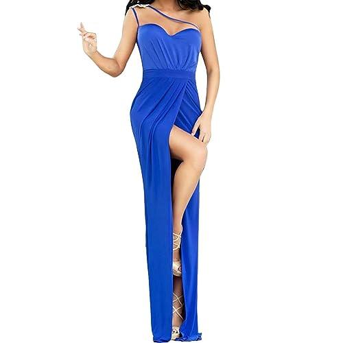 JTC Vestido Azul De Elegante Espalda Descubierta Sin Mangas Elástico Delgado Para Baile Noche Cóctel Fiesta