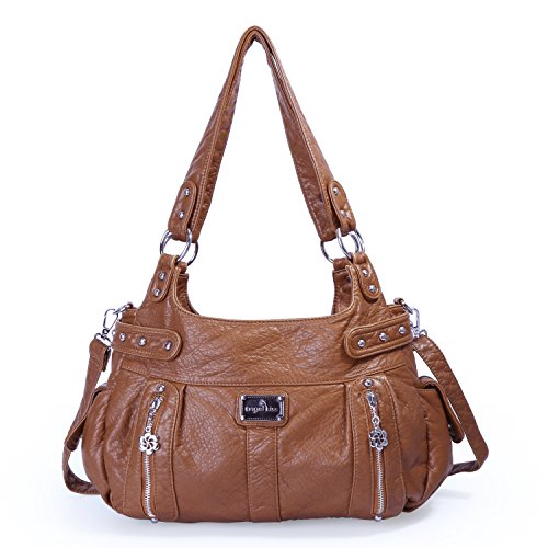 Angelkiss Handbags For Womens Feel Soft Purse Multiple Zipper Pockets Shoulder Bags Large Size