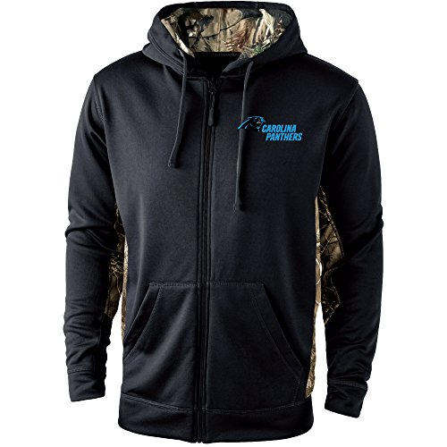 Dunbrooke Apparel NFL Carolina Panthers Mens 5411Decoy Camo Accent Fullzip Tech Fleece, Black with Camo, Medium