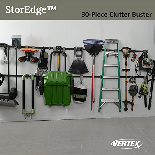 StorEdge 30-Piece Clutter Buster Storage Solution with Super-Duty Track and 24 High Density Organizing Hooks - Clear Space in the Garage, Shed, Workshop and Basement by Vertex (Image #1)