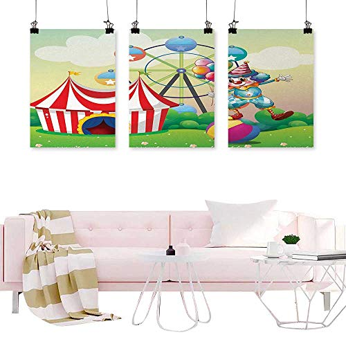 Glifporia Canvas Prints Modular Picture Circus Decor,Illustration of a Clown Balancing Above an Inflatable Ball at The Carnival,Multicolor Art for Living Room Office 3 Pieces]()
