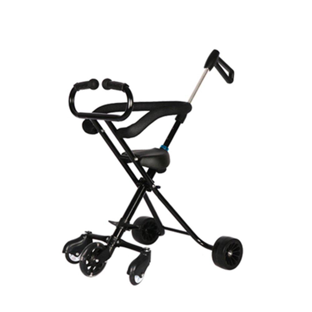 Unbekannt LXZXZ - 1-6 Jahre alten Kinderwagen 5 Runden bequem faltbare Kinder Tourismus Trolley Kinderwagen schwarz und weiß zwei Farben (Farbe : Schwarz)