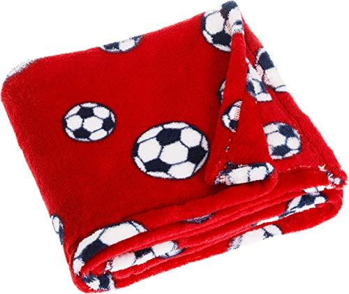 vielseitig nutzbare Kuscheldecke f/ür Jungen und M/ädchen Playshoes Baby und Kinder Fleece-Decke 75 x 100 cmmit Fu/ßball-Muster