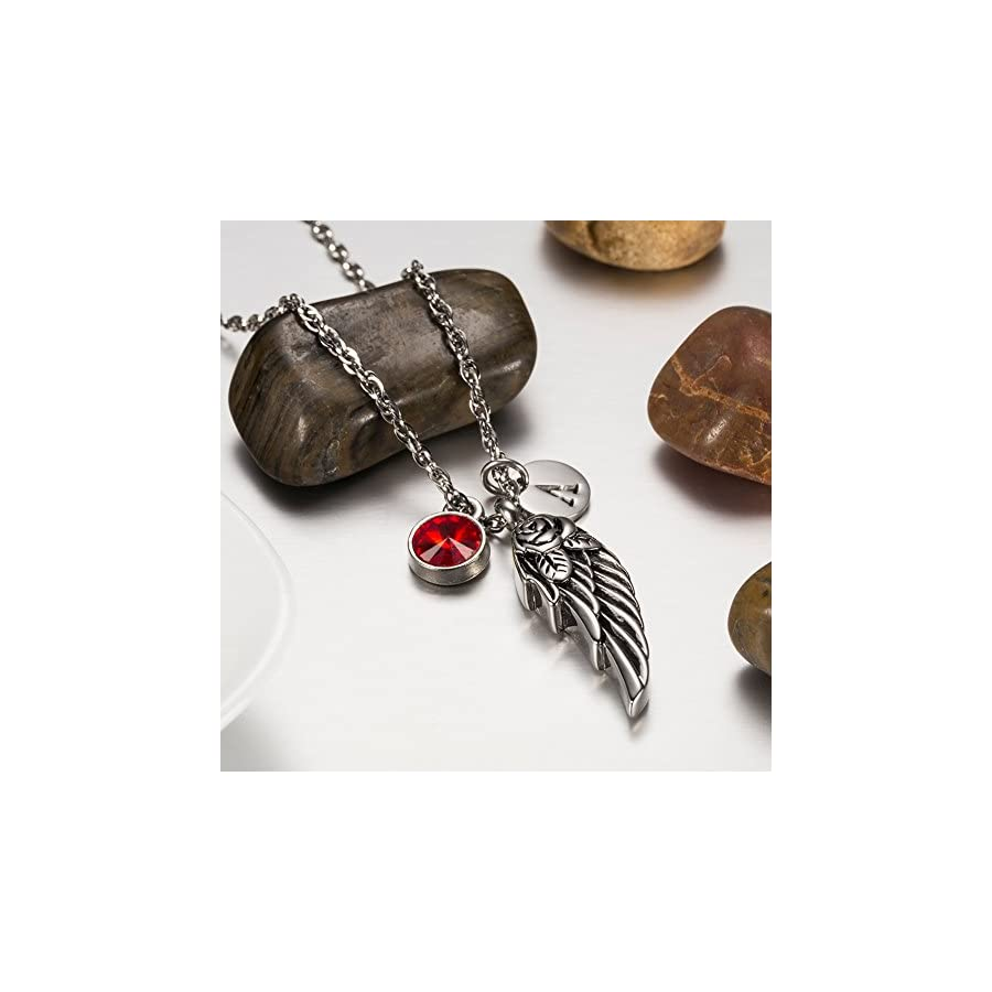 AMIST Wing of Angel Cremation Jewelry Initial Necklace Urn Memorial Ashes Holder Keepsake with Birthstone Crystal