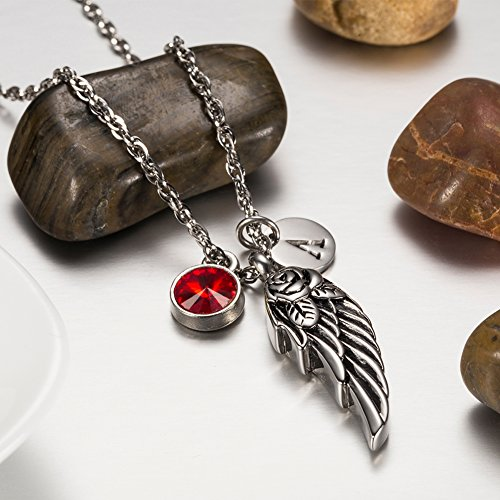 Wing of Angel Cremation Jewelry Initial Necklace Urn Memorial Ashes Holder Keepsake with Birthstone Crystal by AMIST