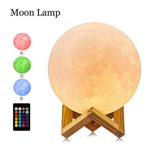 GDPETS Moon lamp, (7.3INCH) 16 Color 3D Printing Moon Led Night Light, Remote& Touch Control and Adjust Brightness& Rechargeable Home Decorative Light Lamps for Baby/Kids/Lover/Friends Gifts