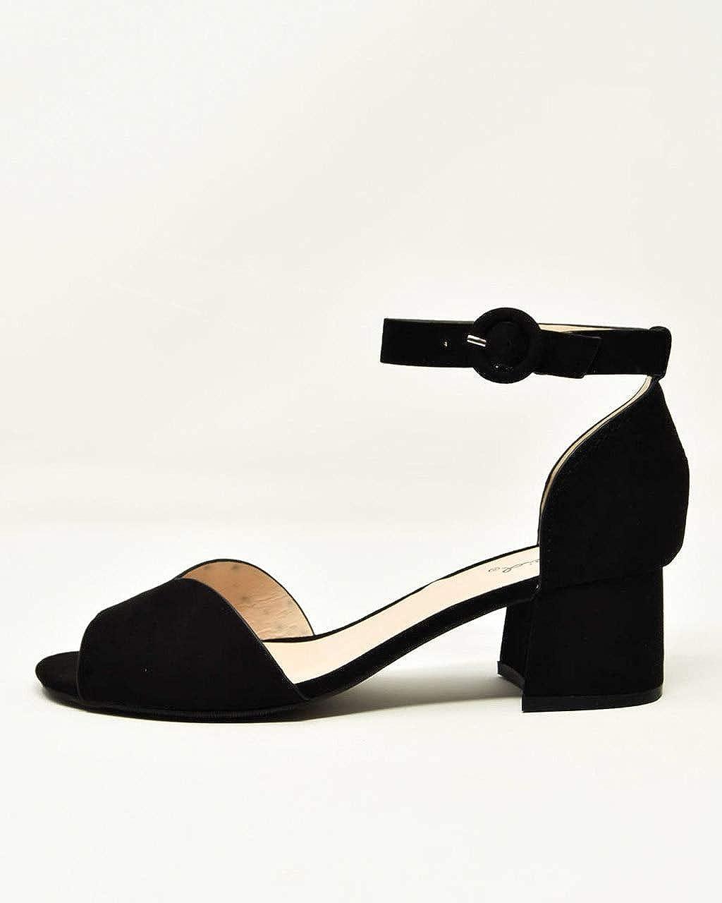 Qupid Katz-58 Womens Suede PU Peep Toe Block Heel Sandals