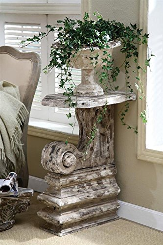 resin plant stand aged distressed finish country home garden dcor
