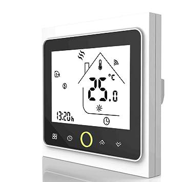 Qiumi Termostato WiFi inteligente controlador de temperatura para calefacción por suelo radiante eléctrico funciona con Amazon Alexa, Google Home ...
