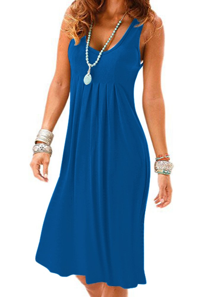 Camisunny Sexy Beach Bikini Swimsuit Cover Ups for Women Plain Solid Color Cotton Mini Dress Size M