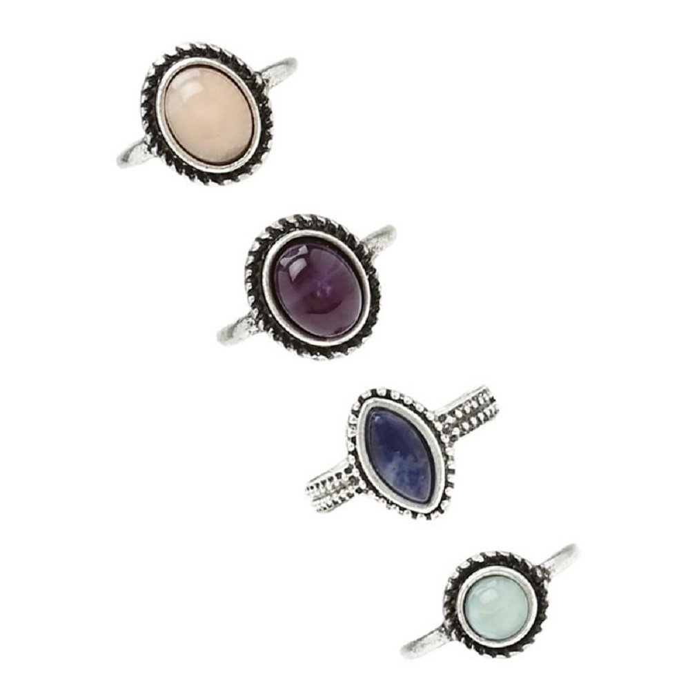 JACKY 4pcs/Set Women Bohemian Vintage Silver Stack Rings Above Knuckle Blue Jewelry Set JACKYRings022