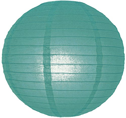 "UPC 609613412257, Quasimoon 20"" Tahiti Teal Round Paper Lantern, Even Ribbing, Hanging Decoration by PaperLanternStore"