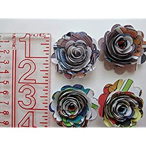 "Scalloped Comic Book Paper Flowers Bunch, 1 Dozen 1.5"" Roses on Stems, Cartoon Theme Bridal Shower Decoration, Home Decor, Superhero Birthday Party Decor Centerpiece 5"