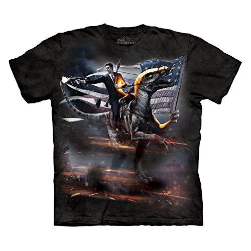 The Mountain Men's Reagan Velociraptor T-Shirt Black XL (Ronald Reagan Riding A Velociraptor Tank Top)