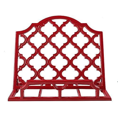 Vintage Cast Iron Cookbook Stand Red Metal Cookbook Holders Rustic Recipe Book Stand for Cookbooks or iPad Stands For Kitchen