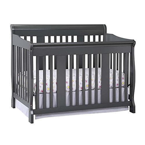 Storkcraft Tuscany 4-in-1 Convertible Crib, Gray Easily Converts to Toddler Bed, Day Bed or Full Bed, 3 Position Adjustable Height Mattress