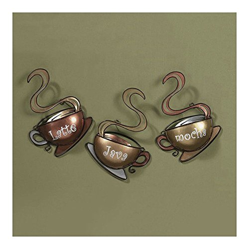 Coffee House Cup Mugs Set of 3 Latte Java Mocha Metal Wall A