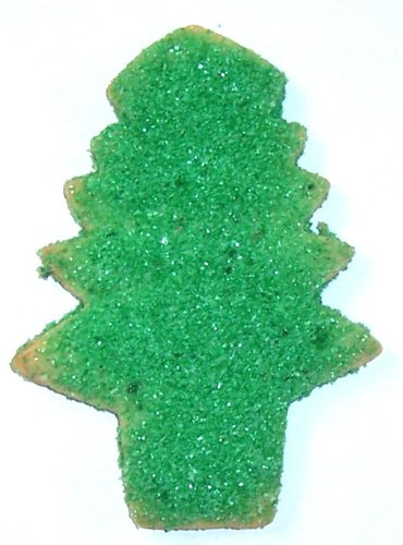 Scott's Cakes 2 lb. Green Sugar Tree Cookies & Reindeer Corn Christmas Basket with White Krinkle and Decorative Bow