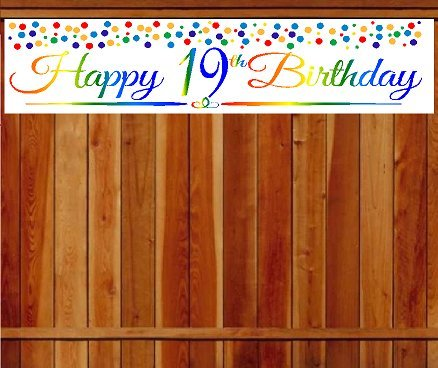 Birthday Decoration Items (CakeSupplyShop Item#019RPB Happy 19th Birthday Rainbow Wall Decoration Indoor / OutDoor Party Banner (10 x 50inches))