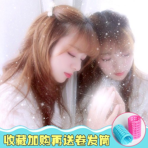 (Air wig repair facial hair hoop wave male head strap style carved mother fluffy fake hair and half women girls female)