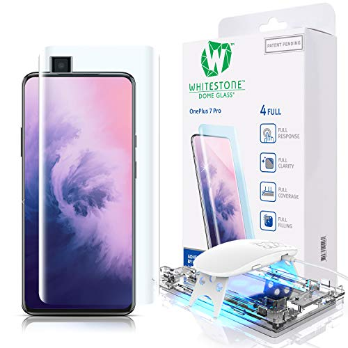 Tempered Glass Screen Protector for OnePlus 7T Pro 5G and 7 Pro [Dome Glass] 3D Exclusive Solution for Full Coverage Protection, Easy Install Kit by Whitestone for 7T Pro and 7 Pro Models - One Pack