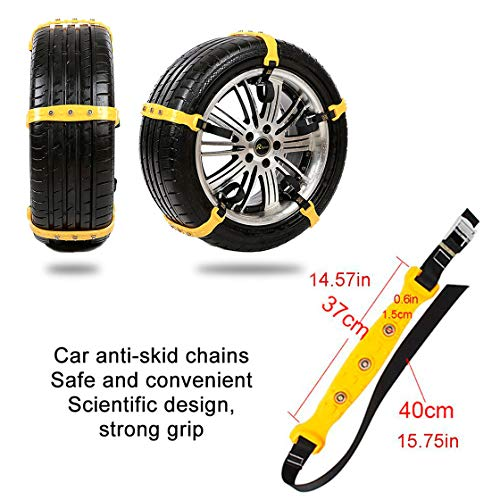 Garne-T Anti Slip Tire Chains Snow Tire Chains Car Emergency Thickening Anti-Skid Chain, Fit for Most Car/SUV/Vans/Truck, Set of 10 with Free Snow Shovel and Gloves (Style 1) by Garne-T (Image #3)