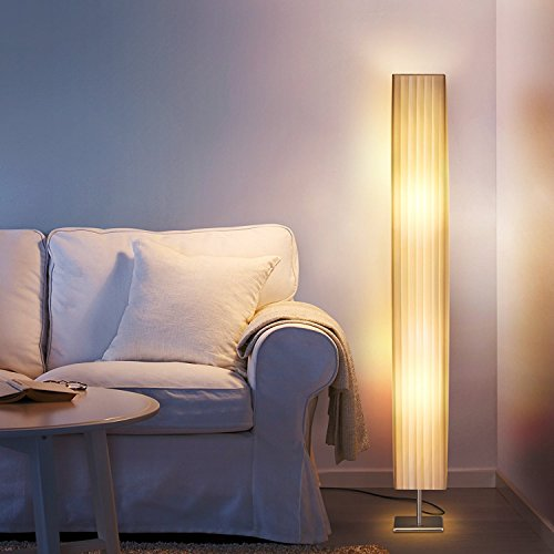 Albrillo Fabric Floor Lamp, Modern Asian Style Standing Lamps with Soft Diffused Uplight, LED 46 inch Tall Lamps for Living Room, Bedrooms, Office by Albrillo