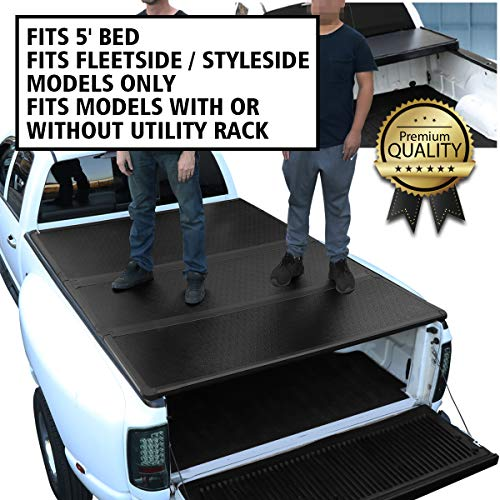 DNA Motoring TTC-HARD-045 Truck Bed Top Hard Solid Tri-Fold Tonneau Cover (Bed Cover 2018 Nissan Frontier)