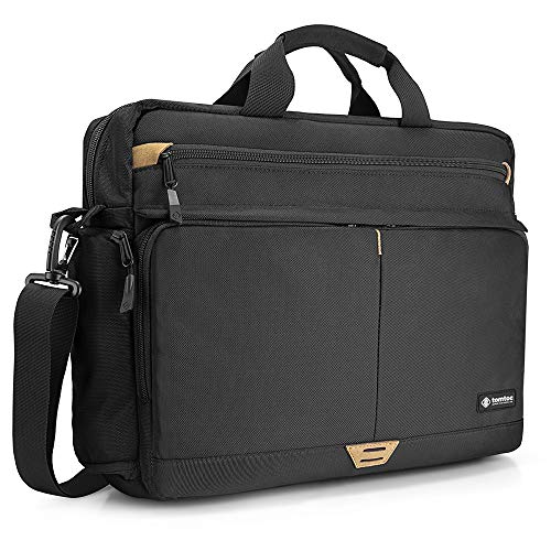 (tomtoc Shoulder Bag, Messenger Bag for 15.6 Inch Laptop MacBook with Anti-Shock Laptop Compartment Multifunctional Briefcase Fits 15.6 Inch HP Dell Acer Lenovo Asus Samsung Notebook Tablet,)