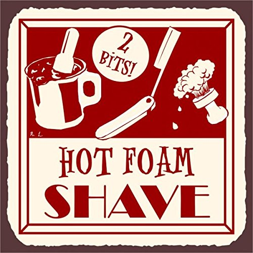 (Hot Foam Shave Vintage Barber Shop Retro Metal Tin Sign 12X12 Inches)