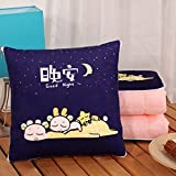 HOMEE Cartoon Plush Pillow Doll Quilt Two Couples with the Office of the Car Headrest Fold Air-Conditioning Cushion Pillows,Good Night,40X40