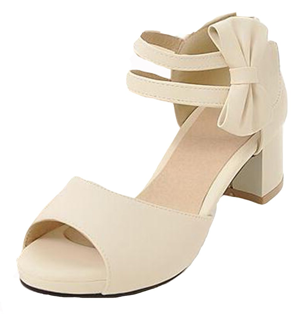 Easemax Women's Sweet Two Ankle Strap Platform Sandals with Bow Beige 11.5 B(M) US