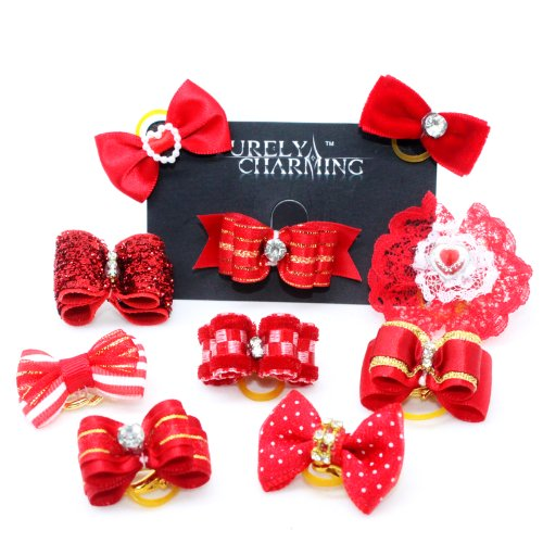 PURELY CHARMING Pet Barrette / Hair bows for Dogs - Queenly Red (Pack of 10) -