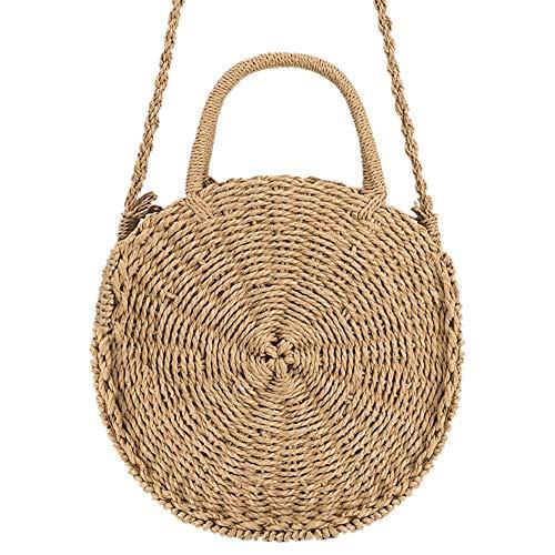 Round Women Rattan Knitted Straw Handbag Backpacks Khaki1 Bag Fashion Messenger Woven Vintage gwqXg0r