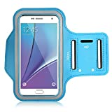 Galaxy S5 Armband, Galaxy S6 Armband, Galaxy S7 Armband. Alkax Sports Exercise Water Resistant Series Hyrid Armband Running Pouch Clear Touch With Key Holder For Walking+1 Free Stylus Pen(Sky Blue)