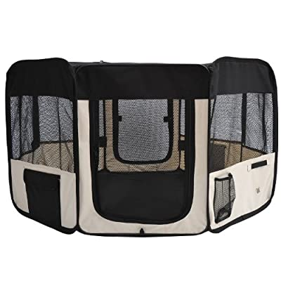 "PawHut 49.2"" Folding Soft Pet Playpen Tent Kennel Puppy Cat Dog Exercise Crate with Carry Bag Cream and Black"