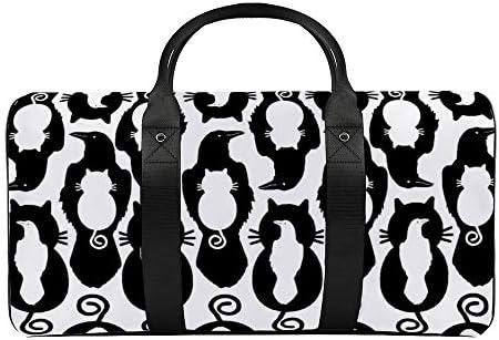 白の猫対ラバーン1 旅行バッグナイロンハンドバッグ大容量軽量多機能荷物ポーチフィットネスバッグユニセックス旅行ビジネス通勤旅行スーツケースポーチ収納バッグ
