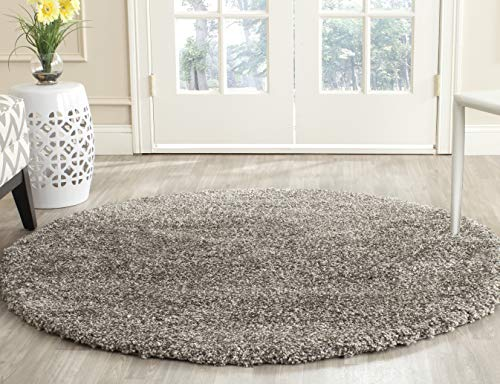 Safavieh Milan Shag Collection SG180-8080 Grey Round Area Rug (3' Diameter)