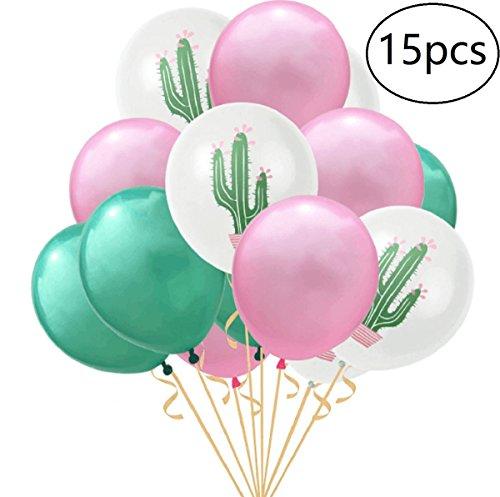 EBTOYS 15pcs Latex Balloons Cactus Party Balloons for Hawaiian Luau Tropical Party Balloons Birthday Decorations