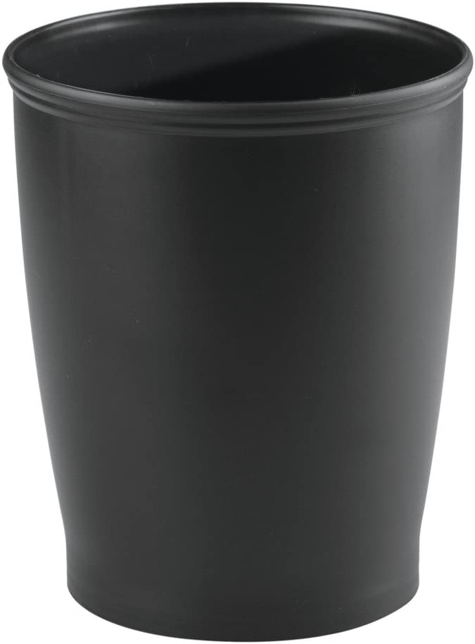 "iDesign - 93437 iDesign Kent Plastic Wastebasket, Small Round Plastic Trash Can for Bathroom, Bedroom, Dorm, College, Office, 8.25"" x 10"", Black"