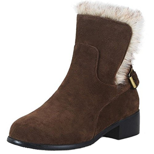 RAZAMAZA Women Winter Warm Shoes Snow Ankle Boots Buckle Strap Brown