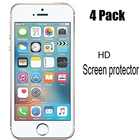 [4-Pack] iPhone 5S/SE/5C/5 Screen Protector,iBarbe iPhone Se Screen Protector,Transparent Screen Protector Film (0.26mm HD Ultra Clear), not Tempered (Sparkly Girls Ipod 4 Cases)