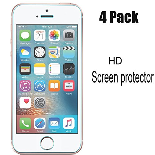iBarbe [4-Pack] Screen Protector Compatible Apple iPhone 5S/iPhone SE/iPhone 5C/iPhone 5, Transparent Screen Protector Film (0.26mm HD Ultra Clear), not Tempered Glass (Apple Iphone 5c 8 Gb Yellow Unlocked)