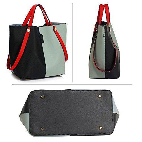 LEESUN LONDON - Bolsa mujer, color negro, talla Large Z - Black/Blue