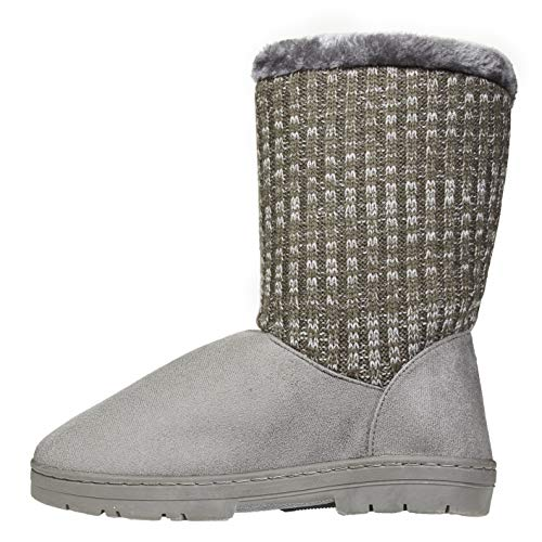 Women's Winter Boots Size 9-10 with Knit Sweater Shaft Casual Mid-Calf Shoes Grey