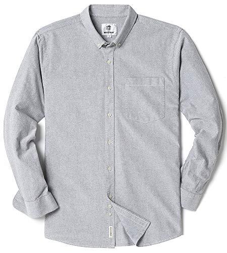 Men's Long Sleeve Oxford Regular Fit Button Down Casual Shirt Light Gray - Shirt Gray Blue